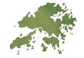 Oude groene kaart van hong kong eilanden — Stockfoto