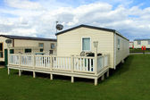 Mobile caravans or trailers in modern holiday park — Stok fotoğraf