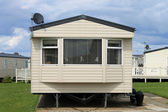 Mobile caravans or trailers in modern holiday park — Stock Photo
