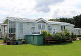 Modern static caravan on campsite — ストック写真