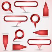 Set of red pointers — Stock Vector