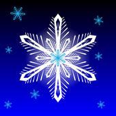 青色の背景にスノーフレーク — ストックベクタ