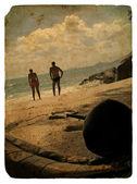 Rodzina na wakacje, seszele. stara pocztówka. — Zdjęcie stockowe