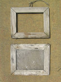 Two old wooden picture frame on the surface texture of burlap. T — Stock Photo