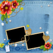 Denim background with frame for photo with flowers, lace and pea — Stok fotoğraf