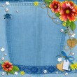 Stock Photo: Blue denim background with flowers, lace and pearls.