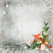 Grey textured background vintage with flowers. — Stock Photo