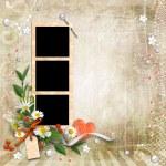 safra de plano de fundo texturizado com quadros e flores — Foto Stock