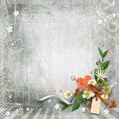 Винтаж серый текстурированный фон с цветами. — Стоковое фото