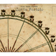 An old postcard with a Ferris wheel. — Stock Photo