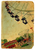 Parque de diversões, uma roda-gigante. antigo cartão postal — Fotografia Stock