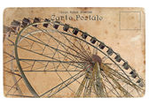 An old postcard with a big Ferris wheel. — Stock Photo