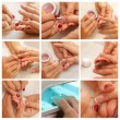 Stock Photo: Collage Womans hand with French manicure