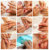 Collage Womans hand with French manicure — Stock Photo