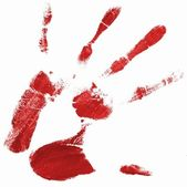 Hand print with red color — Stock Photo