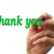 Hand writing the word thank you — Stock Photo