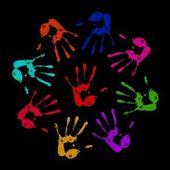 Impronte di mani dipinte — Foto Stock
