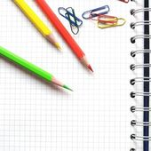 Paper with crayons — Stock Photo