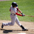 Portland Sea dogs' outfielder Byrce Brentz swings at a pitch - Stock Photo