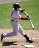 Portland Sea dogs' outfielder Byrce Brentz swings at a pitch — Stock Photo