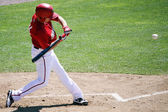 Harrisburg Senators Chris Rahl swings at a pitch — Stock Photo