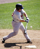 Portland Sea dogs' Dan Butler swings at a pitch — Zdjęcie stockowe