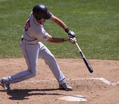 Portland Sea dogs' shortstop Derrick Gibson checks his swing — Stock Photo