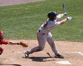 Portland Sea Dogs' catcher Dan Butler swings — Stock Photo