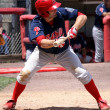 Stock Photo: Reading Phillies' Tim Kennelly gets ready to bunt pitch