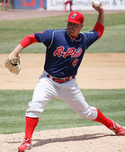 Reading Phillies' Frank Gailey throws a pitch — Stock Photo