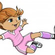 Sports Summer Soccer Girl Vector Illustration — Stock Vector