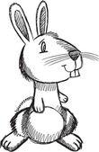 Doodle Sketch Easter Bunny Rabbit Vector — Stock Vector