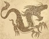 Henna Tattoo Tribal Dragon Doodle Sketch Vector — Stock Vector
