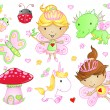 Cute Fairy Princess Flowers Bug and Animal Vector Set — Stock Vector