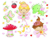 Cute Fairy Princess Flowers Bug and Animal Vector Set — Stockvector