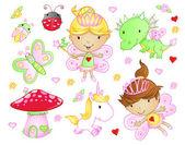 Cute Fairy Princess Flowers Bug and Animal Vector Set — Stock Vector