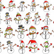 Christmas Holiday Snowman Vector Set — Stock Vector