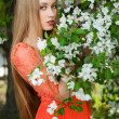 Stock Photo: Girl in spring flowers
