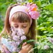 Girl near the lilac bushes — Stock Photo #11213065