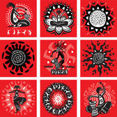Set of pictures with ethnic motifs — Stock Vector