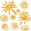 Set of handwritten sun symbols — Stock Vector