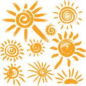 Elle yazılmış güneş simgeler kümesi — Stok Vektör