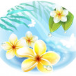 Frangipani plumeria flowers on the water - Stock Vector