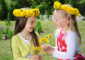 Spring little girls — Stock Photo