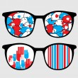 Retro sunglasses with patriotic reflection in it. — Stock Vector