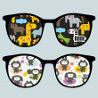Retro sunglasses with cartoon animals reflection in it. — Stock Vector