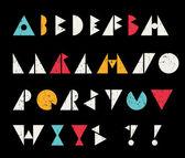 Abstrakt alfabetet bokstäver i retrostil. — Stockvektor