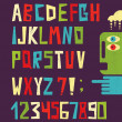 Funny alphabet letters with numbers in retro style. — Stock Vector