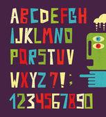 Lettere dell'alfabeto divertente con numeri in stile retrò. — Vettoriale Stock