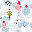Christmas seamless background with cute baby boy. — Stock Vector